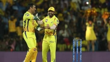 MS Dhoni and Kedar Jadhav share a laugh