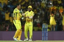 MS Dhoni and Kedar Jadhav share a laugh, Chennai Super Kings v Kings XI Punjab, IPL 2019, Chennai, April 6, 2019