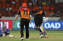 Jonny Bairstow knocks the stump out of the ground to dismiss Ishan Kishan, Sunrisers Hyderabad v Mumbai Indians, IPL 2019, Hyderabad, April 6, 2019