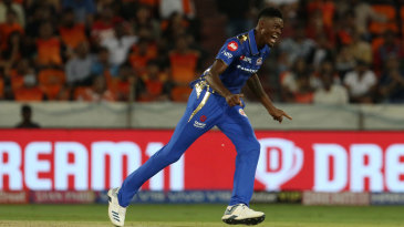 Alzarri Joseph wheels away in celebration after completing a five-for