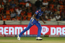 Alzarri Joseph wheels away in celebration after completing a five-for, Sunrisers Hyderabad v Mumbai Indians, IPL 2019, Hyderabad, April 6, 2019