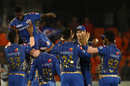 Mumbai's players converge on their latest sensation Alzarri Joseph, Sunrisers Hyderabad v Mumbai Indians, IPL 2019, Hyderabad, April 6, 2019