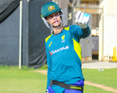 Peter Handscomb sets a field to prepare for bowling strategy during a net session, Sharjah, March 20, 2019