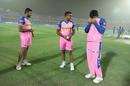 Riyan Parag takes cover from flying dust as Shreyas Gopal and Mahipal Lomror look on, Rajasthan Royals v Kolkata Knight Riders, IPL 2019, Jaipur, April 7, 2019