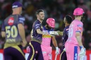 Harry Gurney and Dinesh Karthik share a fist bump, Rajasthan Royals v Kolkata Knight Riders, IPL 2019, April 7, 2019