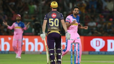 Dhawal Kulkarni looks bewildered as Chris Lynn's bails stay put