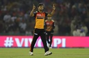 Sandeep Sharma exults after picking up a wicket, Kings XI Punjab v Sunrisers Hyderabad, IPL 2019, Mohali, April 8, 2019