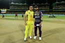 MS Dhoni and Dinesh Karthik pose ahead of the toss, Chennai Super Kings v Kolkata Knight Riders, IPL 2019, Chennai, April 9, 2019