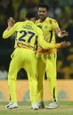 Deepak Chahar and Harbhajan Singh celebrate a wicket, Chennai Super Kings v Kolkata Knight Riders, IPL 2019, Chennai, April 9, 2019