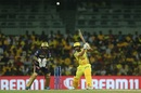 Kedar Jadhav launches a big hit through the covers, Chennai Super Kings v Kolkata Knight Riders, IPL 2019, Chennai, April 9, 2019