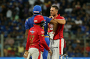 Hardus Viljoen and Kieron Pollard exchange pleasantries, Mumbai Indians v Kings XI Punjab, IPL 2019, Mumbai, April 10, 2019