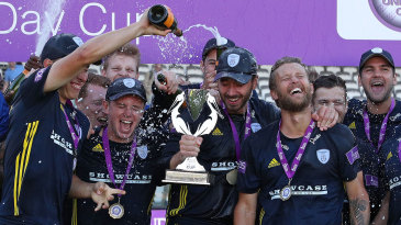 Hampshire celebrate victory in the Royal London Cup final