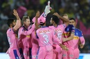 Rajasthan Royals gather around Dhawal Kulkarni after his fiery wicket-maiden, Rajasthan Royals v Chennai Super Kings, IPL 2019, Jaipur, April 11, 2019