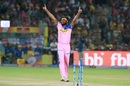 Jaydev Unadkat is overjoyed after a Jofra Archer direct hit sends back Suresh Raina, Rajasthan Royals v Chennai Super Kings, IPL 2019, Jaipur, April 11, 2019