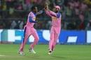 Jofra Archer and Ajinkya Rahane celebrate a wicket, Rajasthan Royals v Chennai Super Kings, IPL 2019, Jaipur, April 11, 2019