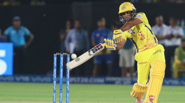 Ambati Rayudu steps out and carves one over mid-off
