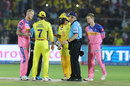 Ben Stokes intervenes as MS Dhoni has a word with the umpires, Rajasthan Royals v Chennai Super Kings, IPL 2019, Jaipur, April 11, 2019