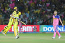 Ravindra Jadeja hugs Mitchell Santner after his last-ball six, while bowler Ben Stokes cuts a forlorn figure, Rajasthan Royals v Chennai Super Kings, IPL 2019, Jaipur, April 11, 2019