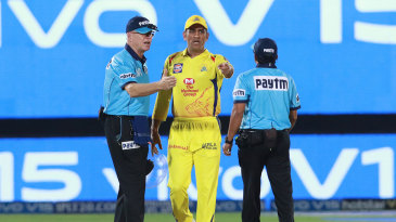 MS Dhoni stops the game to confront the umpires over a revoked no-ball call