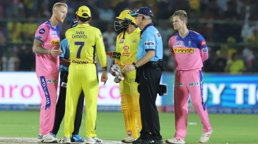 MS Dhoni out in the middle after the no-ball-that-wasn't
