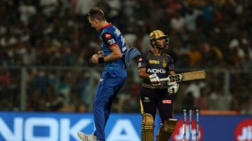 Chris Morris celebrates the wicket of Nitish Rana