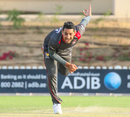 Zahoor Khan sends down a delivery during a late spell, UAE v USA, 2nd T20I, Dubai, March 16, 2019