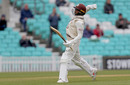 Ryan Patel celebrates his maiden hundred with abandon, Surrey v Essex, County Championship, Division One, The Oval, April 12, 2019