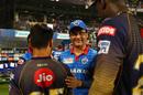 Sourav Ganguly shakes hands with the Kolkata Knight Riders players, Kolkata Knight Riders v Delhi Capitals, IPL 2019, Kolkata, April 12, 2019