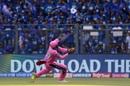 Shreyas Gopal holds on to a skier to send Kieron Pollard back, Mumbai Indians v Rajasthan Royals, IPL 2019, Mumbai, April 13, 2019