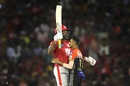 Chris Gayle runs into Yuzvendra Chahal as he celebrates his half-century, Kings XI Punjab v Royal Challengers Bangalore, IPL 2019, Mohali, April 13, 2019