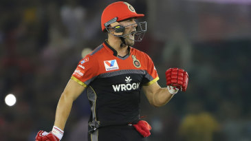 AB de Villiers screams after taking Royal Challengers Bangalore to a win