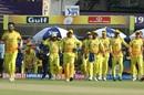 MS Dhoni leads Chennai Super Kings onto the field, Kolkata Knight Riders v Chennai Super Kings, IPL 2019, Kolkata, April 14, 2019
