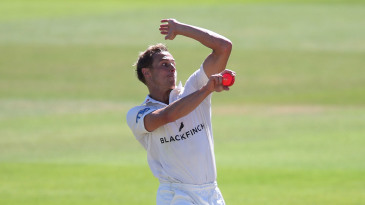 Worcestershire bowler Charlie Morris in action