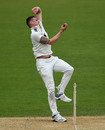 Harry Podmore arrives at the crease, Warwickshire v Kent, County Championship, Division One, Edgbaston, 2nd day, April 12, 2019