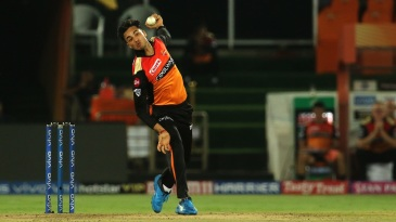 Abhishek Sharma in his delivery stride