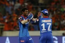 Keemo Paul celebrates with Rishabh Pant, Sunrisers Hyderabad v Delhi Capitals, IPL 2019, Hyderabad, April 14, 2019