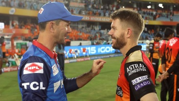 Ricky Ponting and David Warner share a laugh after the match