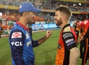Ricky Ponting and David Warner share a laugh after the match, Sunrisers Hyderabad v Delhi Capitals, IPL 2019, Hyderabad, April 14, 2019