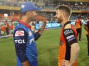 Ricky Ponting and David Warner in conversation after the match, Sunrisers Hyderabad v Delhi Capitals, IPL 2019, Hyderabad, April 14, 2019