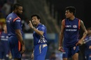 Sachin Tendulkar speaks to Kieron Pollard while Rahul Chahar looks on, Mumbai Indians v Royal Challengers Bangalore, IPL 2019, Mumbai, April 15, 2019