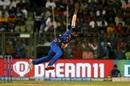 Hardik Pandya completes his bowling action, Mumbai Indians v Royal Challengers Bangalore, IPL 2019, Mumbai, April 15, 2019