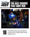 Hardik Pandya's drop cost RCB 18 runs