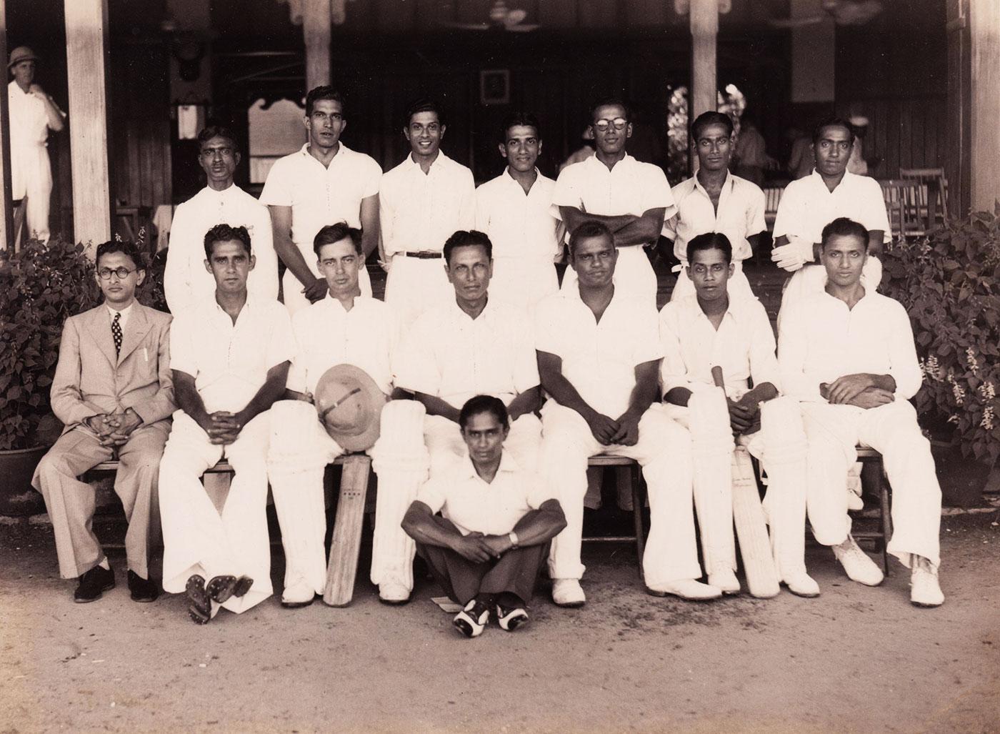 The Ceylon squad to play against a South India XI: Derrick de Saram (sitting, third from left), captain BR Heyn (fourth) and Mahadevan Sathasivam (sixth)