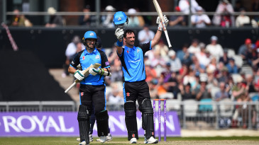 Hamish Rutherford celebrates his hundred