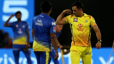 MS Dhoni flexes his muscles