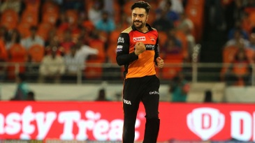 Rashid Khan is pleased after getting a wicket