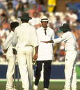 Pakistan's players arguing with umpire Roy Palmer after he warned Aaqib Javed for intimidatory bowling, England v Pakistan, 3rd Test, Old Trafford, July 7, 1992