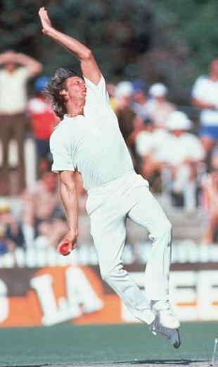 Jeff Thomson in full flow during the 1982-83 Ashes series