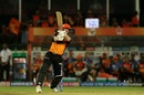 David Warner crunches one away, Sunrisers Hyderabad v Chennai Super Kings, IPL 2019, Hyderabad, April 17, 2019