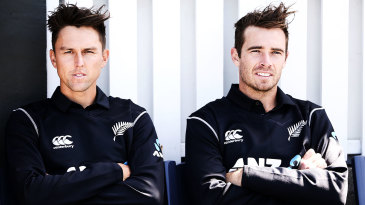 Trent Boult and Tim Southee watch the proceedings